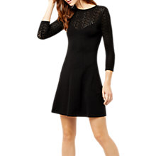 Buy Warehouse Pretty Stitch Yoke Dress, Black Online at johnlewis.com