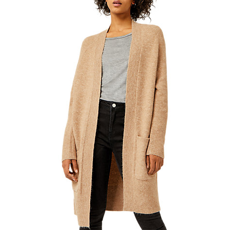 Buy Warehouse Soft Longline Cardigan, Camel | John Lewis