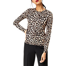 Buy Warehouse Animal Print Jumper, Brown Online at johnlewis.com