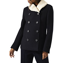 Buy Jigsaw Faux Fur Collar Pea Coat, Dark Navy Online at johnlewis.com