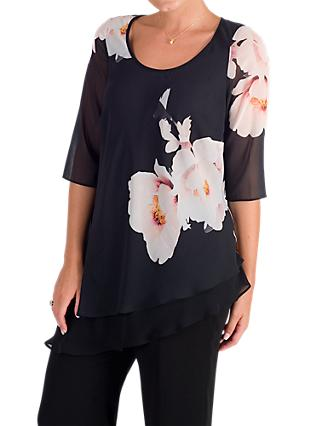 Chesca Floral Bloom Placement Tunic, Black/Blush