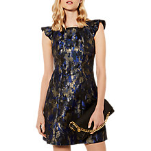 Buy Karen Millen Dramatic Metallic Floral Shift Dress, Midnight/Gold Online at johnlewis.com