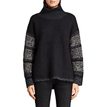 Buy AllSaints Keats Funnel Neck Jumper, Black/Grey Online at johnlewis.com