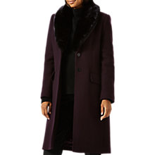 Buy Jigsaw Modern Wool Faux Fur Collar Coat, Aubergine Online at johnlewis.com
