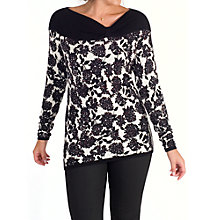 Buy Chesca Mulberry Print Asymmetric Neck Jumper, Black/Ivory Online at johnlewis.com