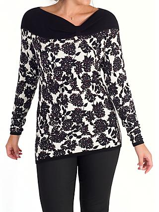 Chesca Mulberry Print Asymmetric Neck Jumper, Black/Ivory