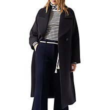 Buy Jigsaw Cavalry Twill Lapel Coat, Navy Online at johnlewis.com