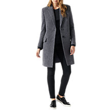 Buy Jigsaw Single Breasted Herringbone City Coat, Navy Online at johnlewis.com