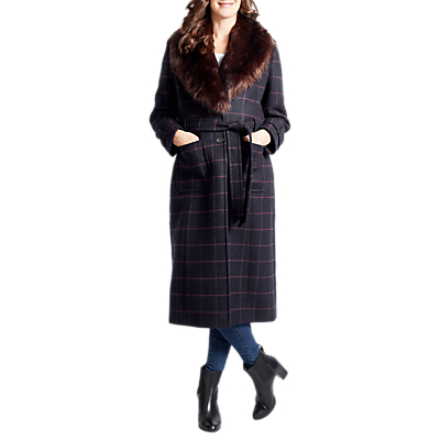 Product photo of Four seasons faux fur collar check coat navy