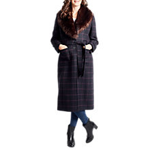 Buy Four Seasons Faux Fur Collar Check Coat, Navy Online at johnlewis.com