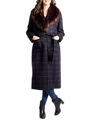Four Seasons Faux Fur Collar Check Coat, Navy