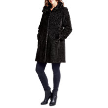 Buy Four Seasons Astrakan Faux Fur Collar Coat, Black Online at johnlewis.com