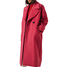 Buy Jigsaw Lux Wool Rich Round Lapel Coat, Deep Fuchsia Online at johnlewis.com