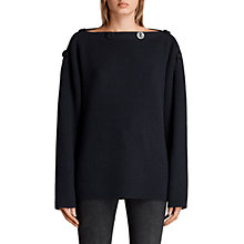 Buy AllSaints Faye Slash Neck Jumper, Ink Blue Online at johnlewis.com