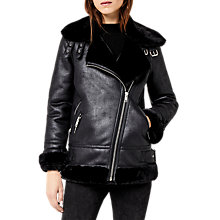 Buy Warehouse Oversized Biker Jacket, Black Online at johnlewis.com