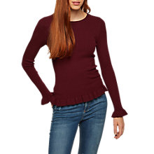 Buy Miss Selfridge Frill Hem Ribbed Top, Burgundy Online at johnlewis.com