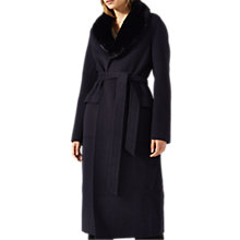 Buy Jigsaw Faux Fur Collar Double Face Coat, Dark Navy Online at johnlewis.com