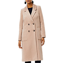 Buy Warehouse Silk Blend Long Line Crombie Coat, Camel Online at johnlewis.com