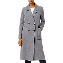 Buy Warehouse Longline Crombie Coat, Dark Grey Online at johnlewis.com