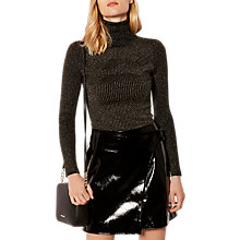 Buy Karen Millen Metallic High Neck Jumper, Gold Online at johnlewis.com