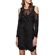 Buy Miss Selfridge Premium Cold Shoulder Embellished Mesh Dress, Black Online at johnlewis.com