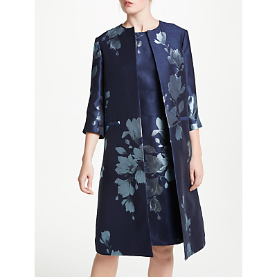 Bruce by Bruce Oldfield Jacquard Print Frock Coat, Navy/Ivory