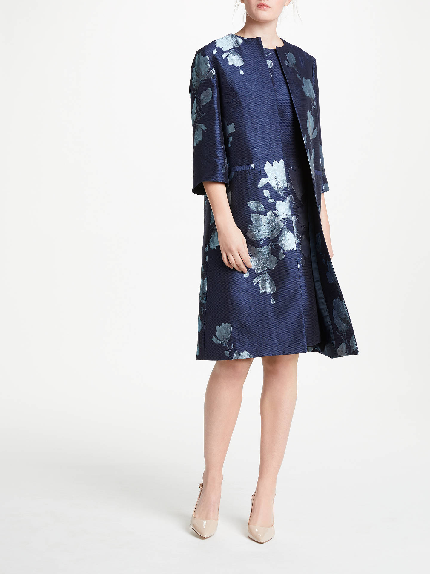 BuyBruce by Bruce Oldfield Jacquard Print Frock Coat, Navy/Ivory, 16 Online at johnlewis.com