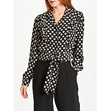 Buy Somerset by Alice Temperley Tie Waist Ruffle Shirt, Black Online at johnlewis.com