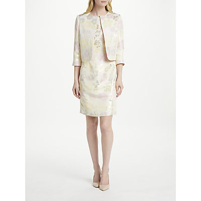 Bruce by Bruce Oldfield Jacquard Fitted Jacket, Ivory/Silver