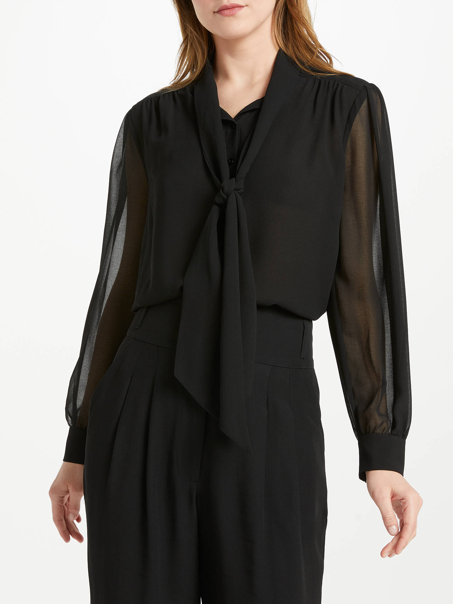 Buy Somerset by Alice Temperley Tie Pleat Sleeve Blouse, Black, 8 Online at johnlewis.com