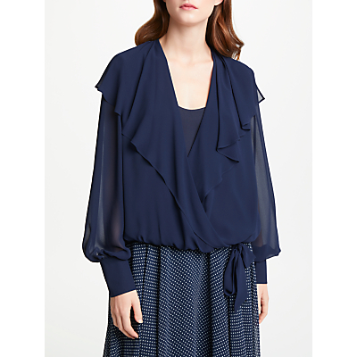 Bruce by Bruce Oldfield Wrap Over Tie Waist Blouse, Navy