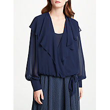 Buy Bruce by Bruce Oldfield Wrap Over Tie Waist Blouse, Navy Online at johnlewis.com