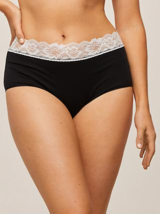 John Lewis & Partners 3 Pack Lace Trim Full Briefs, Black/Cream