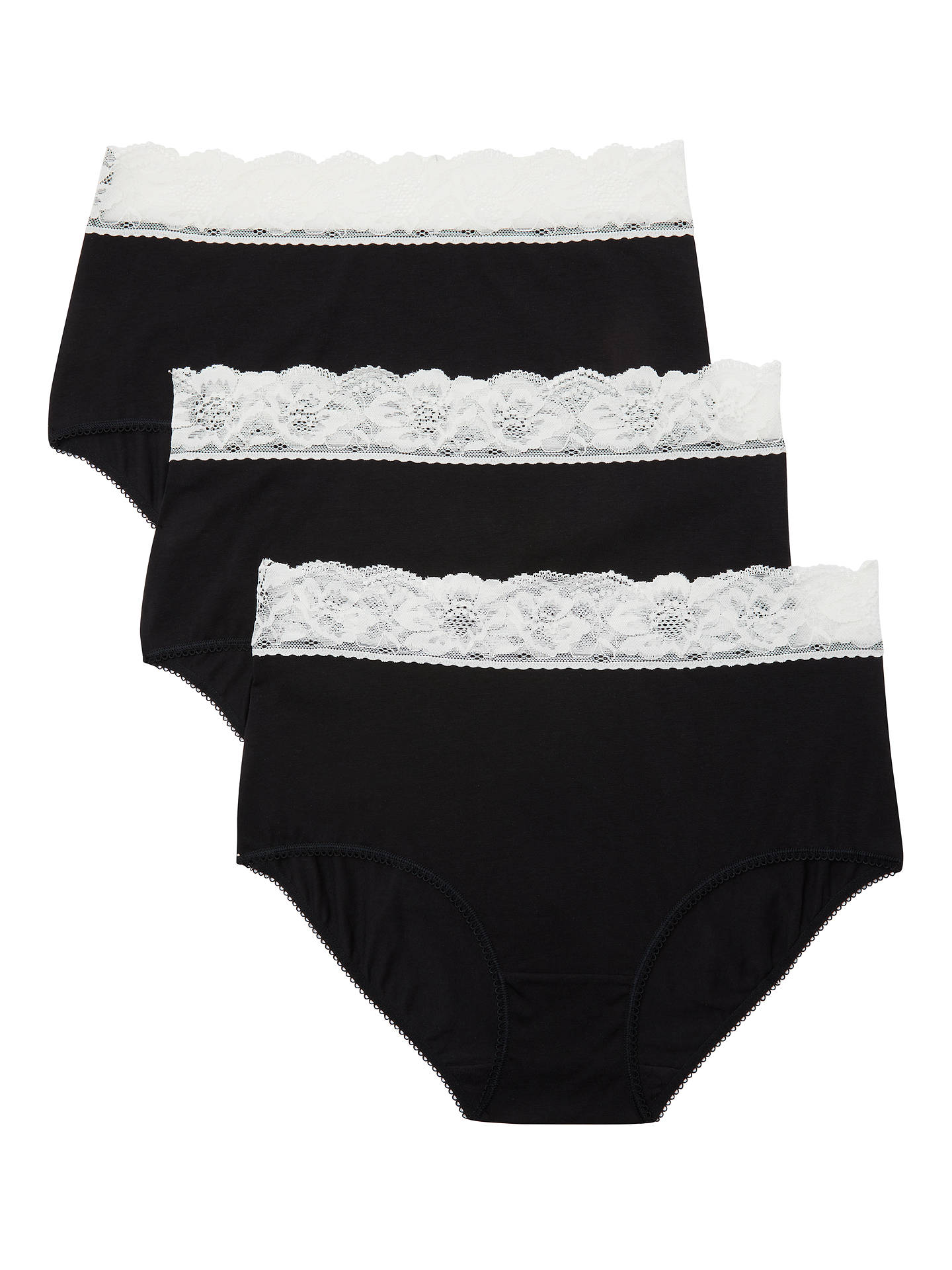 eb2985a7ca026 ... Buy John Lewis & Partners 3 Pack Lace Trim Full Briefs, Black/Cream,