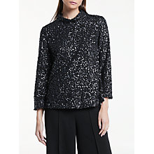 Buy Great Plains Suraya Sequin Top, Onyx Black/Classic Navy Online at johnlewis.com