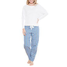 Buy Cyberjammies Lara Check Print Pyjama Bottoms, Blue/White Online at johnlewis.com
