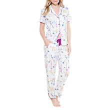 Buy Cyberjammies Florence Floral Print Pyjama Bottoms, Ivory/Purple Online at johnlewis.com