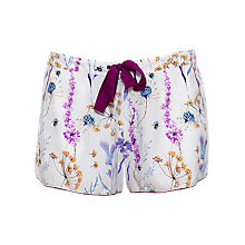 Buy Cyberjammies Florence Floral Print Pyjama Shorts, Ivory/Purple Online at johnlewis.com