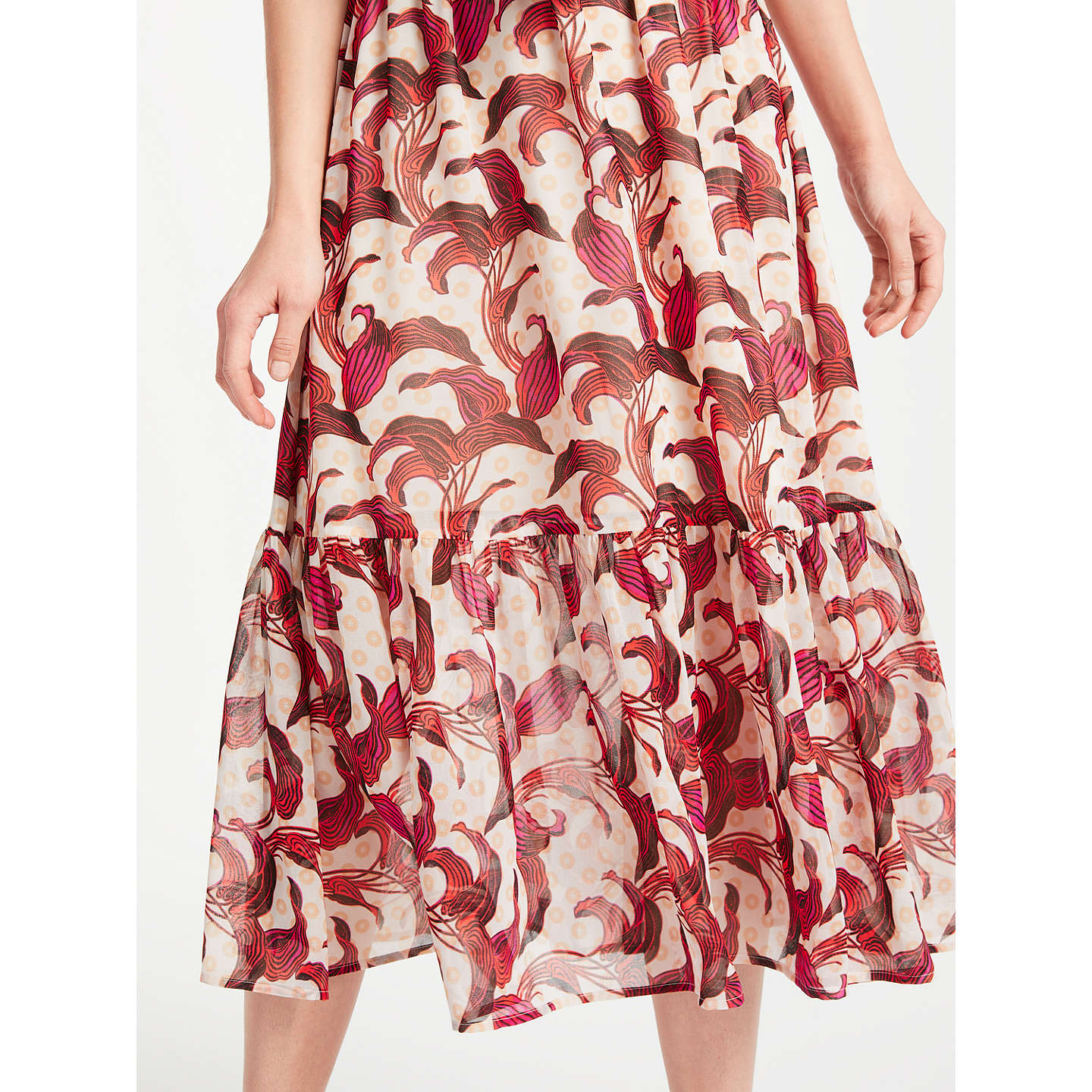 BuySomerset by Alice Temperley Banana Leaf Off Shoulder Dress, Nude/Print, 8 Online at johnlewis.com