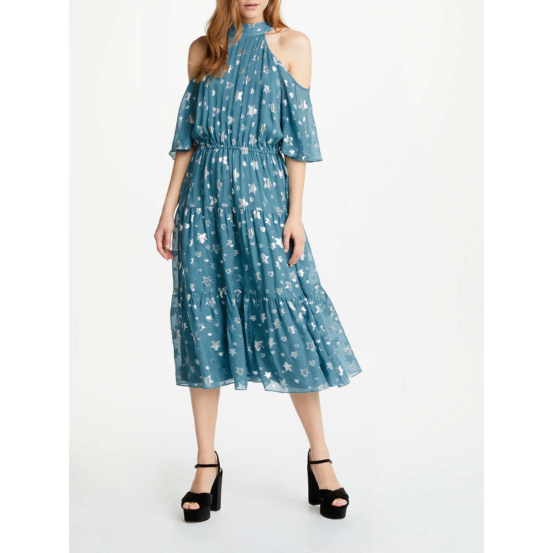 Somerset by Alice Temperley Jacquard Cold Shoulder Dress, Teal at ...
