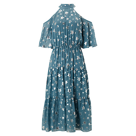 Buy Somerset by Alice Temperley Jacquard Cold Shoulder Dress, Teal Online at johnlewis.com