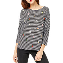 Buy Warehouse Embroidered Floral Stripe Top, Black Stripe Online at johnlewis.com