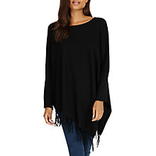 Buy Phase Eight Athena Tassel Hem Poncho Top, Black Online at johnlewis.com