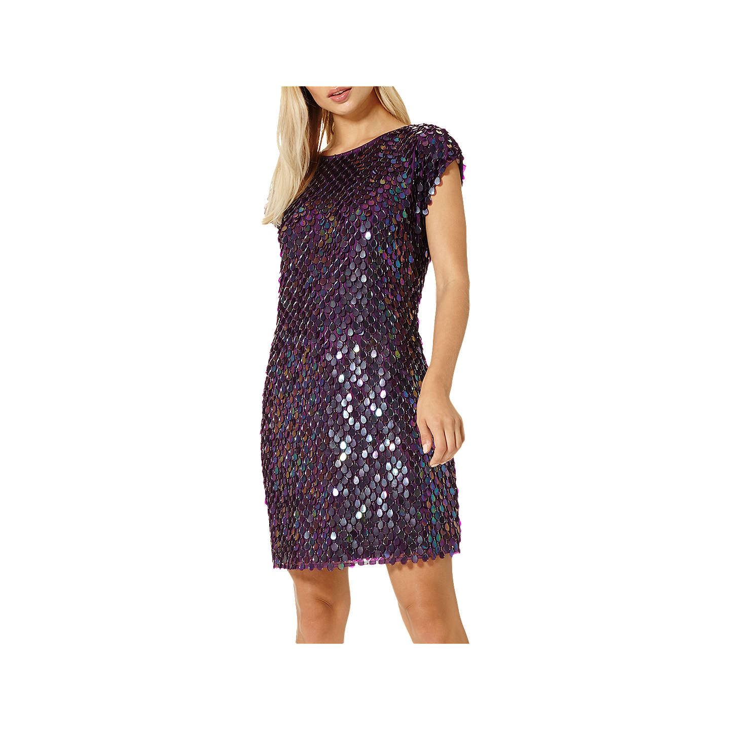 Damsel in a dress Savannah Sequin Dress, Aubergine at John Lewis