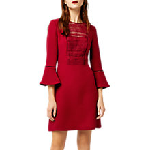 Buy Warehouse Lace Front Fluted Sleeve Dress, Dark Red Online at johnlewis.com