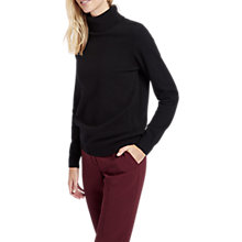 Buy Jaeger Long Sleeve Cashmere Roll Neck Jumper, Black Online at johnlewis.com