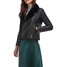 Buy Whistles Agnes Faux Fur Bonded Jacket, Black Online at johnlewis.com
