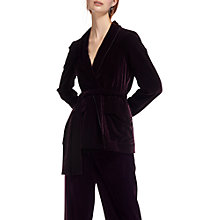 Buy Whistles Velvet Tie Wrap Jacket, Fig Online at johnlewis.com