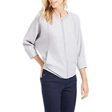 Buy Jaeger Wool Double Faced Zip Through Sweater, Light Grey Online at johnlewis.com