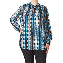 Buy ADIA Printed Smock Blouse, Lake Blue Online at johnlewis.com